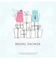 Bridal shower invitation card with two cute cats vector image vector image