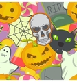Cartoon Halloween symbols seamless pattern vector image