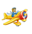 Cartoon plane with pilot vector image vector image