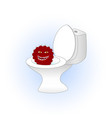 cartoon red cactus sitting in the toilet vector image vector image