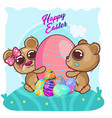 cute bear with happy easter egg copy vector image vector image