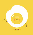 cute funny fried egg character hand drawn vector image vector image