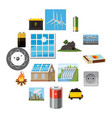 energy sources items icons set cartoon style vector image