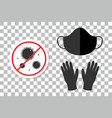 face mask rubber gloves stop coronavirus sticker vector image vector image