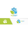 factory and leaf logo combination industry vector image
