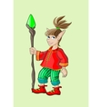 Fairy elf in a red shirt with a stick vector image vector image