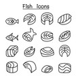 fish meat icon set in thin line style vector image vector image