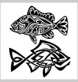 fish tattoo - stylized folk art fish vector image