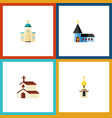 flat icon building set of religious religion vector image