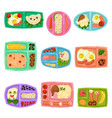 flat set of plastic lunch boxes with food vector image