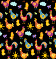 fun chickens seamless pattern background with hand vector image vector image