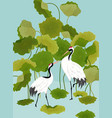 graphic japanese cranes and lotus vector image vector image