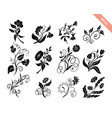 hand drawn doodle floral silhouettes collection vector image vector image