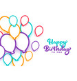 happy birthday colorful balloons white background vector image
