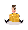 happy millionaire character embracing big pile of vector image vector image
