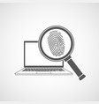 icon magnifier with fingerprint in front a laptop vector image