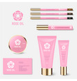 identity cosmetics rose beauty tubes jar mockup vector image