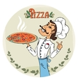 Italian chef with a steaming hot pizza vector image