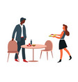 man and woman having lunch at office canteen table vector image