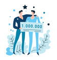 men wins money check at casino or in lottery vector image