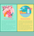 mid autumn festival poster set vector image vector image
