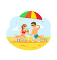 people by seaside drinking cocktails sunny beach vector image vector image