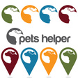pets helper design template pins and web icons set vector image vector image