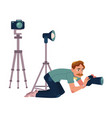 photographer camera man taking pictures shooting vector image vector image