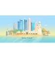 Qatar Skyline Flat Poster vector image vector image