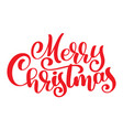 red text merry christmas hand written calligraphy vector image vector image