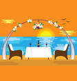 romantic evening at the sea in flat design style vector image vector image