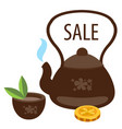 sale teapot with a cup tea colored for design vector image vector image