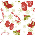Seamless pattern with cute cartoon Christmas mitte vector image vector image
