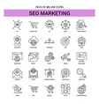 seo marketing line icon set - 25 dashed outline vector image