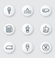 set of 9 eating icons includes closed placard vector image vector image