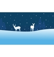 Silhouette of Christmas deer scenery at night vector image vector image