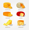 sliced french and swiss cheese food icons vector image