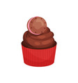 tasty chocolate cupcake decorated with small vector image vector image