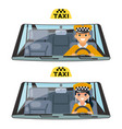 taxi vehicle interior driver worker car wheel ride vector image vector image