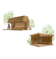 two wooden bus stop vector image vector image