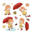umbrella collection autumn girl character i vector image vector image