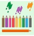 Varicolored pencils set Ten crayons in a raw vector image