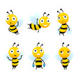 various cartoon characters of bees with honey vector image vector image