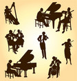 various classical musicians silhouettes vector image