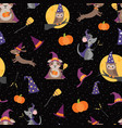 wizard witch friends seamless pattern vector image