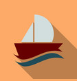 yacht icon in flat style with shadow vector image