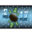 Happy new year 2017 and hockey vector image