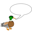 A funny cute duck with a talking bubble vector image vector image