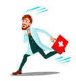 ambulance running doctor man with first aid box vector image vector image