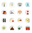 april fools day icons set flat style vector image vector image